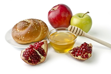 feast day: Challah, apples, pomegranate and bowl of honey over white. Illustration of Rosh Hashanah (jewish new year) or Savior of the Apple Feast Day