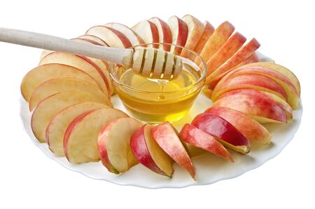 feast day: Cut into slices of apples with a bowl of honey, isolated over white. Illustration of Rosh Hashanah (jewish new year) or Savior of the Apple Feast Day