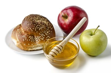 Round challah, apples and a bowl of honey over white. Illustration of Rosh Hashanah (jewish new year) or Savior of the Apple Feast Day illustration