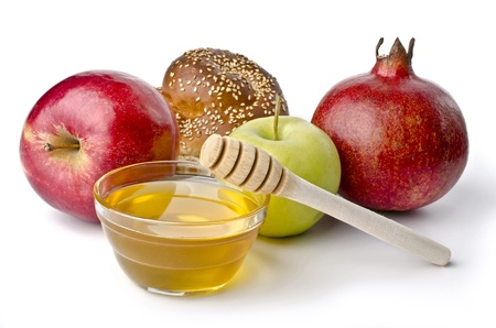 jewish new year: Round challah, apples and a bowl of honey over white. Illustration of Rosh Hashanah (jewish new year) or Savior of the Apple Feast Day