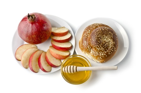 Still life - challah, apples, pomegranate and bowl of honey over white. Illustration of Rosh Hashanah (jewish new year) or Savior of the Apple Feast Day Stock Illustration - 17729479