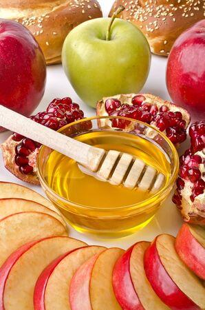 Still life closeup - challah, apples, pomegranate and bowl of honey closeup. Illustration of Rosh Hashanah (jewish new year) or Savior of the Apple Feast Day Stock Illustration - 17729416