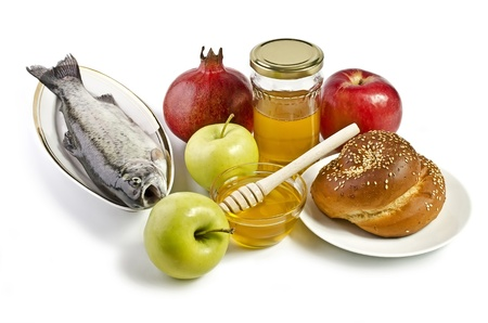 Still life with apples, pomegranates, fish, challah and honey over white. Illustration of Rosh Hashanah (jewish new year) or Savior of the Apple Feast Day Stock Illustration - 17729412