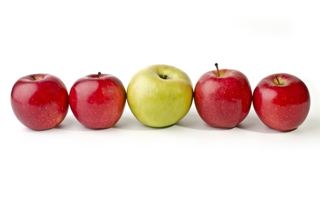 Five apples lined up in a straight line, isolated on a white background