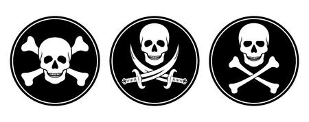 Three variations skull and crossbones, and skull with swords