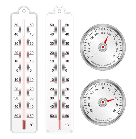 barometer: Set of thermometers and barometer in vector, isolated over white