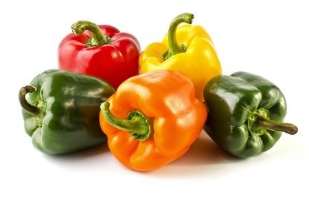 Five colorful peppers close-up, isolated on a white background photo