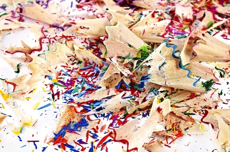 sharpenings: Abstract background - Shavings of colored pencils closeup