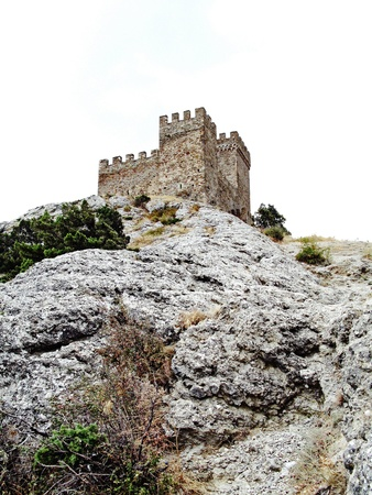 Ruins of the Genoese fortress on the mountain in Sudak, Crimea