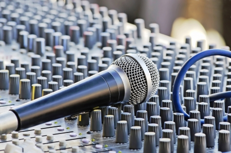 Microphone close-up on the sound mixer