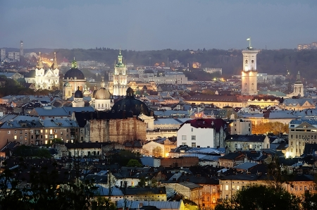 Night scenery of Lvov city, view from height. Ukraine Stock Photo