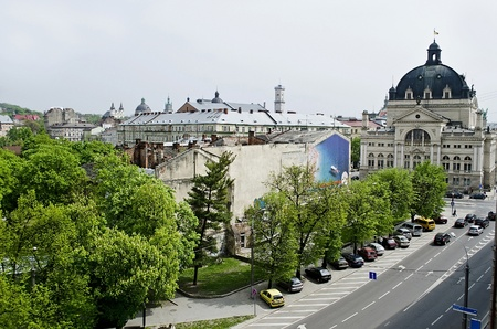 Panorama of the old city - Lvov city from height, Ukraine