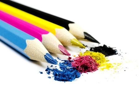 Pencils with chip (toner) in CMYK, isolated on a white background