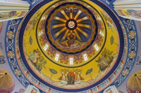 LVOV, UKRAINE - JUNE 13: Jesus christ on the wall painting in built church of St. Vladimir and Olga on June 13, 2013 in Lviv, Ukraine. In photo - dome of the church of St. Vladimir and Olga Stock Photo - 20316341