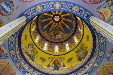 LVOV, UKRAINE - JUNE 13: Jesus christ on the wall painting in built church of St. Vladimir and Olga on June 13, 2013 in Lviv, Ukraine. In photo - dome of the church of St. Vladimir and Olga Stock Photo - 20316343