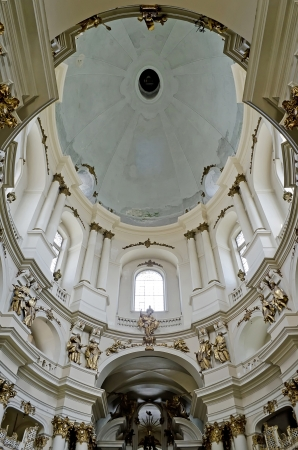 ceased: LVOV, UKRAINE - JUNE 13: Dominican cathedral status change - he ceased to be a museum of atheism and religion and became a Greek-Catholic cathedral on June 13, 2013 in Lviv, Ukraine. In photo - dome of the Dominican cathedral