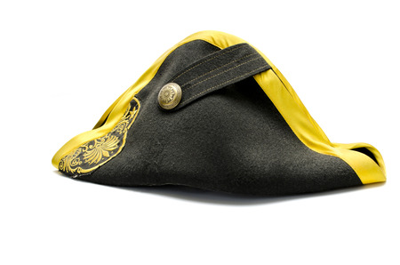 Black tricorn hat (Napoleon hat), isolated over white Stock Photo