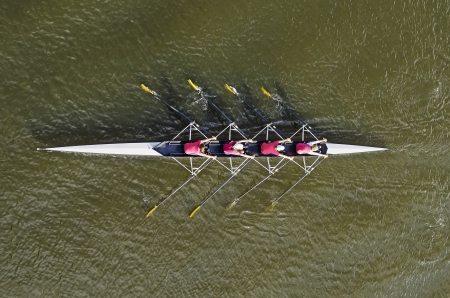 Womens rowing team, top view