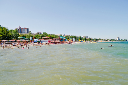 forbade: FEODOSIA, UKRAINE - AUGUST 19: The cabinet of the Crimea forbade to take a payment for using of public beaches on August 19, 2013 in Feodosia, Ukraine.