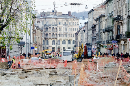 overhaul: LVOV, UKRAINE - OCTOBER 16: Gorodotskogo Street is closed for journey, in connection with carrying out overhaul on October 16, 2013 in Lviv, Ukraine
