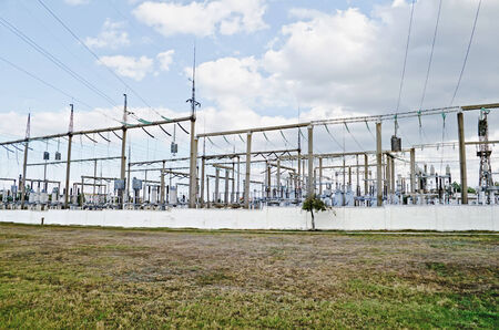 Industrial landscape - General view on the electric substation in Feodosia, Crimea, Ukraine photo