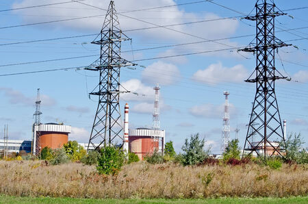 Industrial landscape - General view on the Nuclear Power Plant (NPP) in Yuzhnoukrayinsk, Ukraine Stock Photo - 23911903