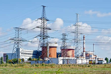 Industrial landscape - General view on the Nuclear Power Plant (NPP) in Yuzhnoukrayinsk, Ukraine Stock Photo - 23911906