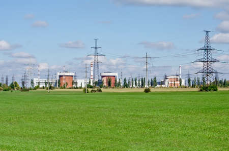 Industrial landscape - General view on the Nuclear Power Plant (NPP) in Yuzhnoukrayinsk, Ukraine Stock Photo - 23911912