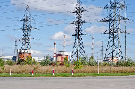 Industrial landscape - General view on the Nuclear Power Plant (NPP) in Yuzhnoukrayinsk, Ukraine Stock Photo - 23911909