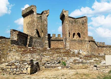 sudak: Ruins of the Genoese fortress in Sudak. Crimea, Ukraine.