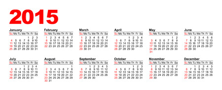 American Calendar grid for 2015 in vector, horizontal