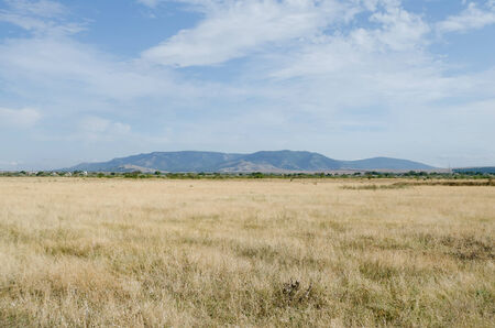 russia steppe: Beautiful scenery - Steppe and mountains in the Crimea, Russia