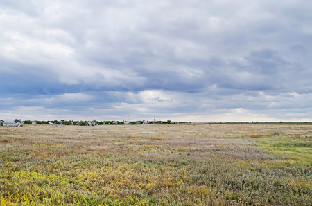 russia steppe: Beautiful scenery - Steppe with views of the village in Crimea, Russia
