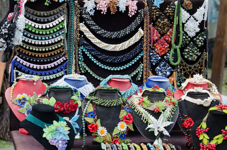 street market: Beaded jewelry on display in the street market for tourists