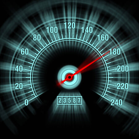 Speedometer shows speeding in motion blur close-up photo