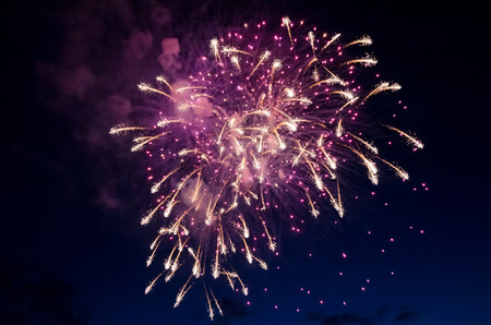 Beautiful fireworks close-up against dark sky