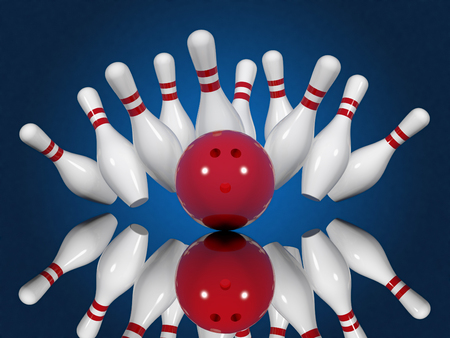 Strike - ball crashing into the bowling pins on a blue background. Made in 3d Stock Photo