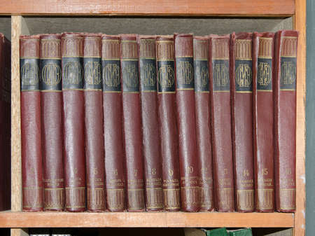 encyclopedic: KERCH, CRIMEA, RUSSIA - NOVEMBER 27: Encyclopedic series of books on a shelf in the library named after Ostrovsky in Kerch on November 27, 2014 in Kerch, Crimea, Russia