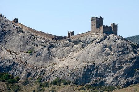sudak: Beautiful landscape - Genoese fortress on the mountain in Sudak, Crimea Editorial