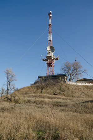 repeater: Tower TV repeater close-up on the mountain in Kerch, Crimea