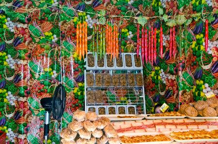sudak: SUDAK, CRIMEA, RUSSIA - AUGUST 24: Sale of fruits and vegetables in Sudak on august 24, 2014 in Sudak, Crimea, Russia Editorial
