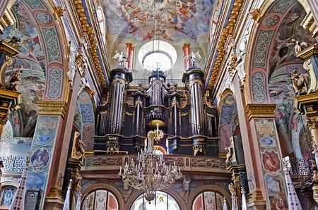 lvov: LVOV, UKRAINE - JUNE 11: In Bernardine Church preserved interior decoration and wall-painting of the renaissance on June 11, 2013 in Lvov, Ukraine