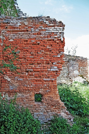 lvov: The old wall of red brick in an old castle in the Stare Selo, close to the Lvov city (Ukraine). Built 15th century.