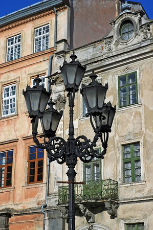 lvov: Cityscape - Street light on the background of the building in Lvov, Ukraine