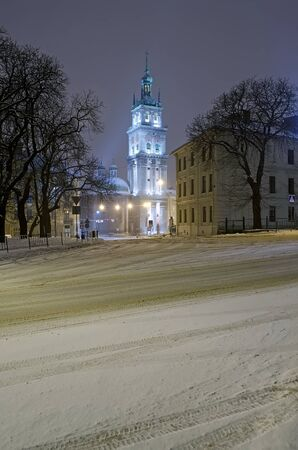 assumption: Beautiful winter cityscape at the night - Assumption Church in Lvov