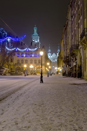 lvov: Beautiful winter cityscape - the center of Lvov city at the night