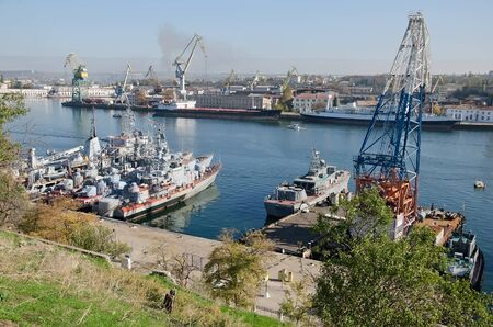 superstructure: Warships of the Russian Navy berth in the Sevastopol Bay. Sevastopol, Crimea, Russia