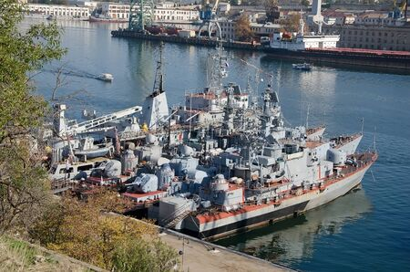 superstructure: Warships of the Russian Navy close-up in Sevastopol Bay. Sevastopol, Crimea, Russia