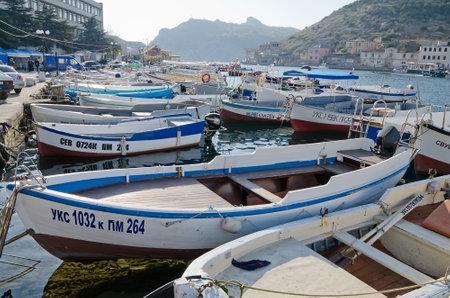 motor boats: SEVASTOPOL, CRIMEA, RUSSIA - NOVEMBER 04: Many motor boats parked in Balaclava on November 04, 2014 in Sevastopol, Crimea, Russia