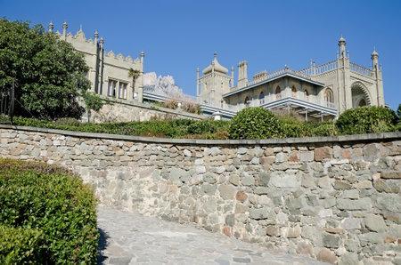 alupka: Architectural landmark - Southern side of the Vorontsov Palace in Alupka, Yalta, Crimea Editorial